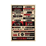Fight Club Rules Leinwand-Poster, Wandkunst, Dekordruck,