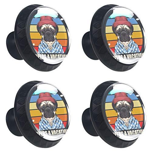 KAMEARI Funny Pug Dog - Tiradores para cajones (4 piezas, cristal, forma de círculo, con tornillos, para casa, cocina, oficina