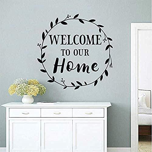 DIY Home creatieve moderne decoratie huisontwerp decor welkom in onze familie logo muur sticker huisdecoratie voordeur Vinyl Applique ronde tak muurschildering maat 42 * 42 cm