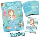 Schatzkarte Komplett Set mit Mitgebsel Diplomen für Schnitzeljagd Meerjungfrau / Schatzsuche für Kindergeburtstag für die Mottoparty Unter Wasser / tolles Kinderparty Spiel für draußen
