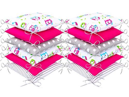 Amilian Bettumrandung Babybett Kinder weich Nestchen Kantenschutz Bettnestchen Kopfumrandung 420 cm für Laufstall Umrandungen Hausbett Bettausstattung Kissen Kinderzimmer Polster Eule Weiß Rosa