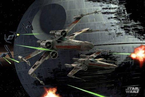 Poster Star Wars - Todesstern und X-Wings: Weltraumschlacht - Größe 61 x 91,5 cm - Maxiposter