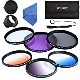 K&F Concept 72mm Kit Filtres Photo(UV/CPL/FLD/Bleu/Orange/Gris ND4) Filtre Protecteur Filtre Polarisant Filtre Gris Neutre Filtres...