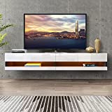 DMAITH 75 inch TV Stand with LED Lights, Floating Entertainment Center Media Console, Wall Mounted High Gloss Modern Storage Shelf for 80/82/86 Inch TVs, Black and White (004B+W)