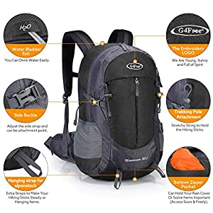 G4Free 35L Hiking Backpack Water Resistant Outdoor Sports Travel Daypack Lightweight with Rain Cover for Women Men(Black)