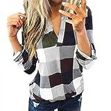 Bluse Damen V-Ausschnitt Kariert 3/4 Ärmel Kurzarm Tunika Tops Longshirt Shirt Top Frauen Casual Baumwolle Langarm Plaid Shirt Slim (4XL,2Weiß)