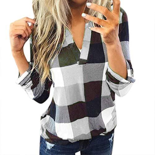 Bluse Damen V-Ausschnitt Kariert 3/4 Ärmel Kurzarm Tunika Tops Longshirt Shirt Top Frauen Casual Baumwolle Langarm Plaid Shirt Slim (S,2Weiß)