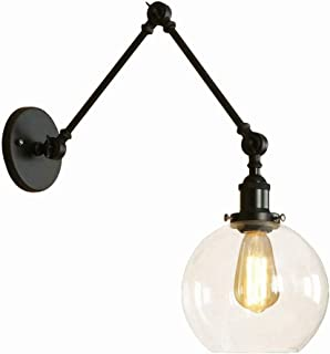 Wall Sconces, Vintage Industrial Wall Lighting with Round Clear Glass Shade Adjustable Swing Arm Retro Style Antique Wall Lamp Decor Lighting Fixture