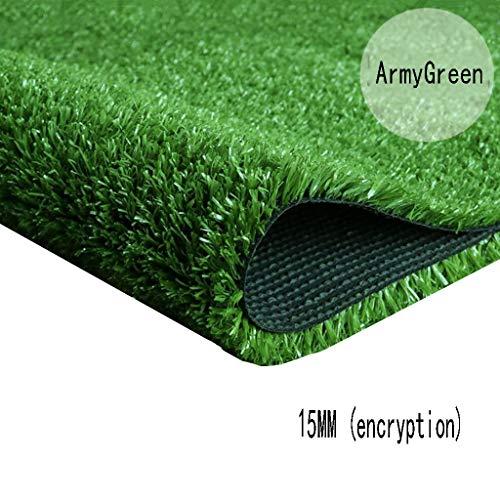 XEWNEG 15MM Grüner Synthetischer Rasen, Verschlüsselungs-Simulations-Plastikteppich-Matte, Wasserdicht, Verwendbar for Kindergarten/Garten/Außendekoration (Size : 2x15M)