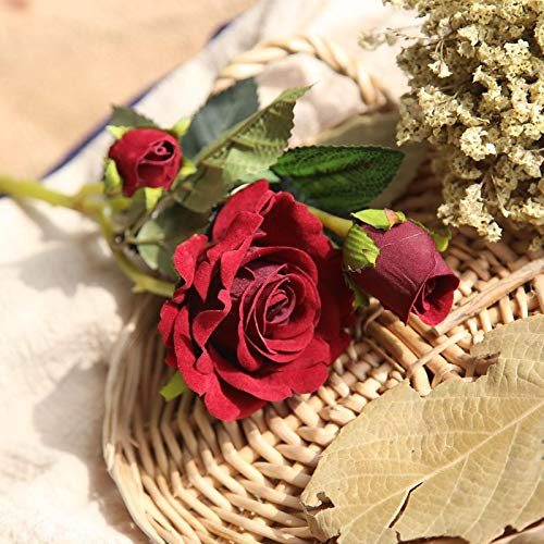 Simulación rosa roja 3 boda terciopelo seda flor arreglo floral planta maceta interior hogar sala estar mesa café decoración mesa comedor decoración nuevo para amigos y familiares regalos navideños