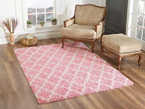 Pergamon Hochflor Langflor Shaggy Teppich Aloha Rosa Mix Modern in 6 Größen