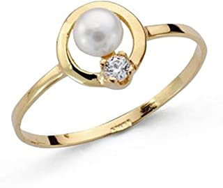 18K Gold Ring Fence First Communion Smooth Round Pearl Girl Zirconia