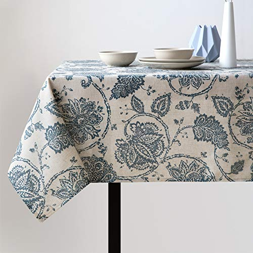 jinchan Linen Textured Tablecloth for Kitchen Jacobean Floral Printed Table Cover Linen Textured 1 Panel 51' W x 72' L Teal