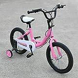 Bicicleta infantil de 16 pulgadas, para niños y niñas, con ruedas de apoyo, para niños de 4 a 7 años, color rosa
