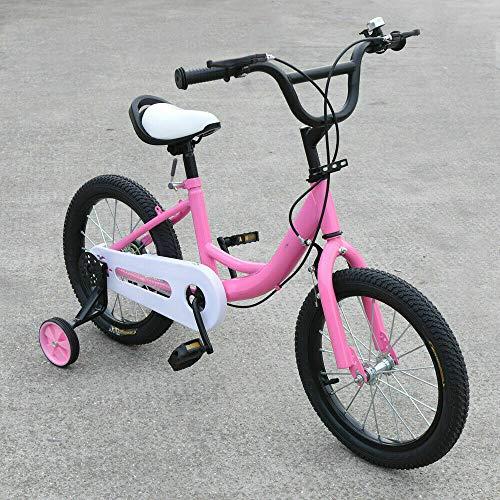 Bicicleta infantil rosa de 16 pulgadas con rueda auxiliar, cabezal ajustable doble, adecuada para niños de 4 a 8 años