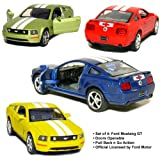 Set of 4: 5' 2006 Ford Mustang GT with Stripes 1:38 Scale (Blue/Green/Red/Yellow) by Kinsmart