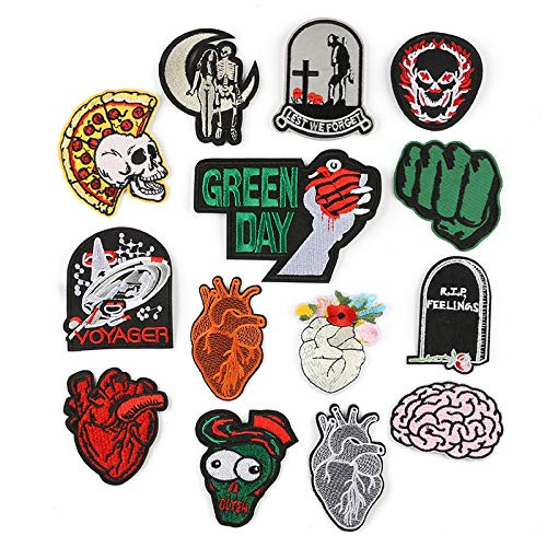 Iron on Patche/Sewing Patch,Embroidery Applique,Suitable for Hats,T-Shirts,Coats,Jackets,Pants,Shoes,suitcases,Backpacks,14pcs Styles: Skulls Tombstones Hearts