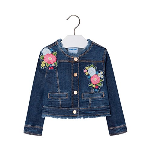 Mayoral - Giacca in Jeans con Ricamo Floreale, Denim 128