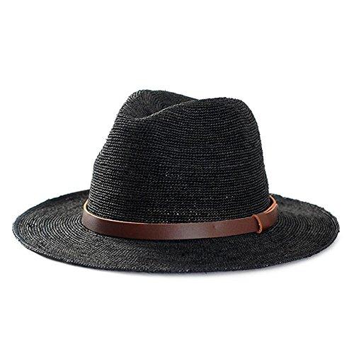 WYYY Chapeau Dame Chapeau De Soleil Pliable Fabriqué À La Main Chapeau De PU Avec Par Le Travers Protection Contre Le Soleil ( Couleur : Noir )
