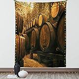 Lunarable Winery Tapisserie-Tapisserie Twin Size, Fässer zur Aufbewahrung von Wein Italien Eiche Container in kaltem dunklen Untergr&keller, Wandbehang, Tagesdecke, 172.7 x 223.5 cm, Aprikosenbraun