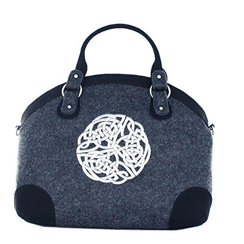Mucros Weavers Celtic Weave Handtasche aus Wolle und PU-Leder, Grau (grau), Einheitsgröße