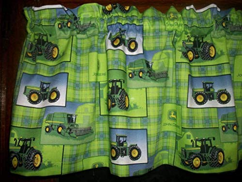 Farm Tractor Lime Green Plaid farmhouse fabric decor treatment covering window topper curtain Valance