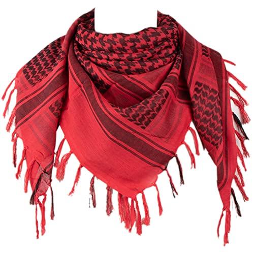 Tactical Desert Shemagh Keffiyeh Arab Tessel Red Scarf Wrap