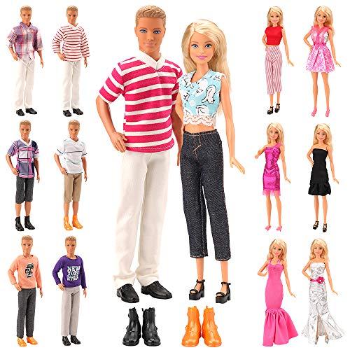 Miunana Lot 15 Kleidung für Puppen = 5 Freizeitbekleidung + 5 Hosen +2 Paar Schuhe für Jungen Puppen + 3 Kleider für 11,5 Zoll Mädchen Puppen