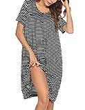 Ekouaer Women Short Sleeve Snap-Front Sleepwear House Coat and House Dress Duster Robe (Black M)