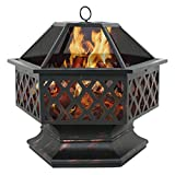 F2C Outdoor 24 inch Hex Shaped Fire Pit Wood Burning w/Flame-Retardant Mesh Lid Fireplace ...