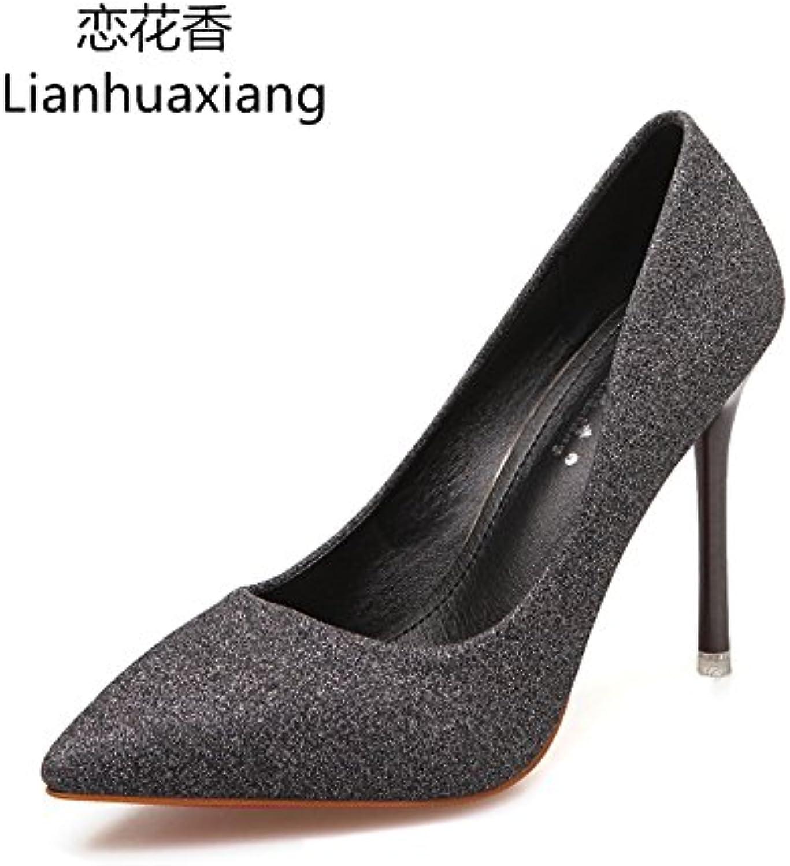 HOESCZS Damenschuhe Frühlingsmode Spitzen Einzelnen Einzelnen Schuhe Weibliche Pailletten High Heels Stiletto Niedrige Schuhe Hochzeit Schuhe Frauen  extrem niedrige Preise