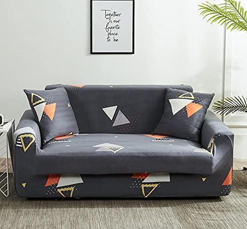 Funda Sofa 4 Plazas Chaise Longue Triángulo Gris Fundas para Sofa Universal,Cubre Sofa Ajustables,Fundas Sofa Elasticas,Funda de Sofa Chaise Longue,Protector Cubierta para Sofá