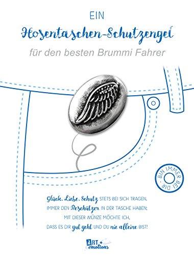 ART + emotions Hosentaschen Schutzengel für den besten Brummi Fahrer - Flügelmünze ist (Wunschtexteindruck möglich) - 925 versilbert - Glücksbringer Talisman Trostspender Mutmacher