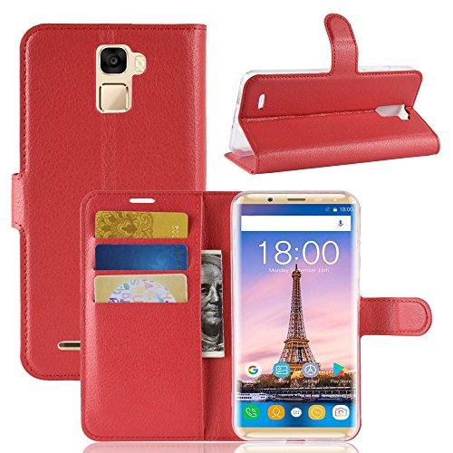 Oukitel K5000 Wallet Tasche Hülle,TenYll PU Schutzhülle [Premium Leder] [Ultra Slim] [Card Slot] [Ständer] Flip Wallet Hülle Etui für Oukitel K5000 -rot