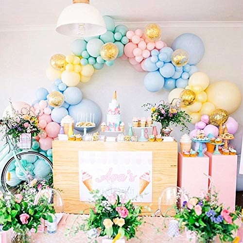 110pcs Pastel Balloons Garland Arch Kit - Assorted Size and Color Macaron Colors 5, 12, 18 Inch Pastel Birthday Party Balloons and Gold Confetti Balloons Unicorn Balloon Garland for Wedding Birthday Baby Shower Bridal Shower Party Decorations