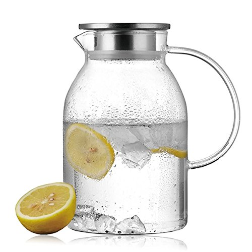Lees Extra-thick Glass Iced Tea Pitcher With 304 Stainless Steel Strainer Lid, 58 OZ Borosilicate Glass Carafe, Glass Water Jug, Come With A Gift