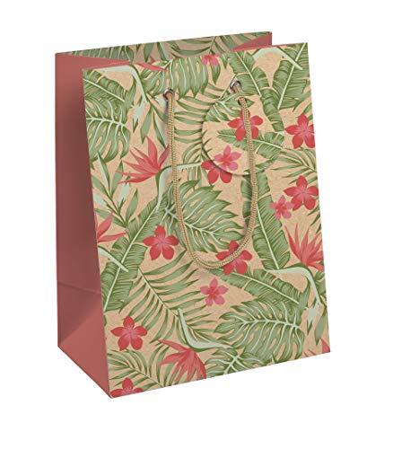 Clairefontaine 27063-3C - Bolsa de papel de regalo media, 21,5x10x25,3 cm, tropical kraft