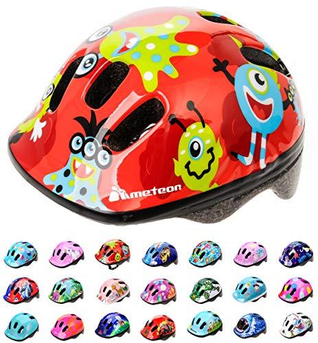 Casco Bicicleta Bebe Helmet Bici Ciclismo para Niño - Cascos para Infantil Bici Helmet para Patinete Ciclismo Montaña BMX Carretera Skate Patines monopatines MV6-2 (XS(44-48cm), Monsters)