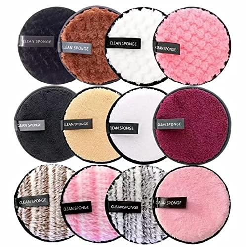 Baodaner Almohadillas de maquillaje de microfibra reutilizables para la cara toalla de maquillaje Toallitas de tela de algodón lavables, cuidado de la piel, limpieza de felpa Puff (2 unidades, rosa)