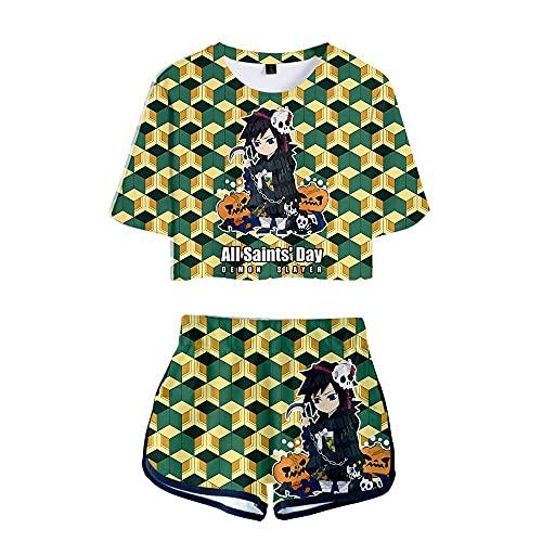 2 piezas traje de cosplay D-emon Slayer High School Uniforme Crop Top camisa pantalones cortos conjuntos