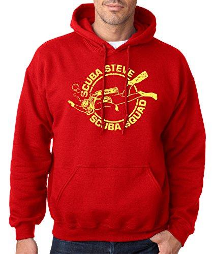 Crazy Dog Tshirts - Scuba Steve Scuba Squad Sweatshirt Funny Diving Hoodie (Red) - M - Homme