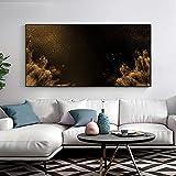 Fondo negro lienzo pintura cartel escandinavo e impresión arte de pared de la ciudad para sala de estar pasillo dormitorio decoración del hogar-60x120cm sin marco