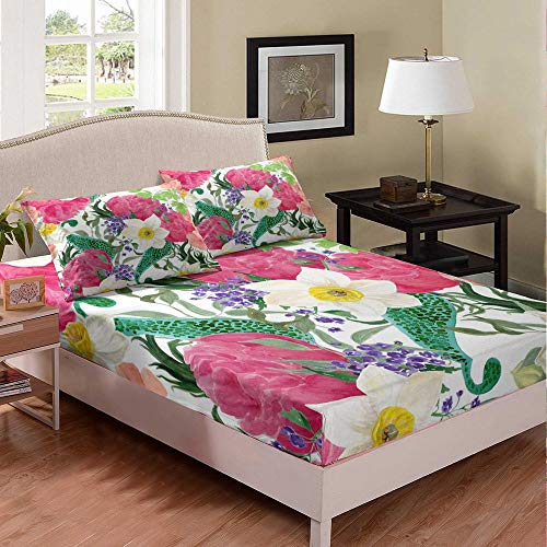 Bloom Printed Bed Sheet Kids Boys Girls Twin XL Rose Mandala Bedding Set Modern 3D Daisy Flower Chic Bed Cover Decorative Bed Sheet Set Bed Covers Bedclothes 2pcs Fitted Sheet with Pillow Case