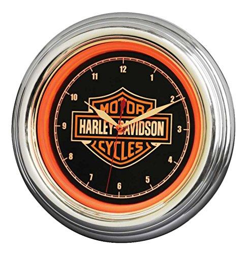 Harley-Davidson, orologio LED con barra e scudo, lunga durata, colore arancione brillante, HDL-16633