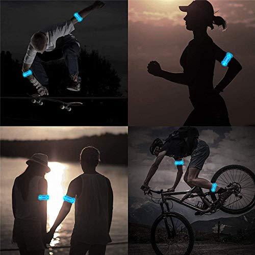 Alviller 2 Stuck LED Armband, Reflective LED Armbänder Leuchtband Reflektor Kinder Nacht Sicherheits Licht für Laufen, Joggen, Hundewandern, Bergsteigen, Running, Jogging und Outdoor Sports - 7