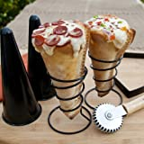 Pizzacraft Pizza Cone 6 Piece Set Cutter Crimper Two Moulds and Two Stands New