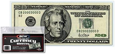 Currency Plastic 10 Sleeves Semi Rigid Small Notes.