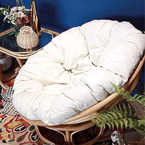 AMYZ Cuscino per Sedia Papasan Rotondo di Colore Solido Solido e Spesso Cuscino per Pavimento Rimovibile da Esterno per Cesto Altalena (39,4 Pollici Bianco)