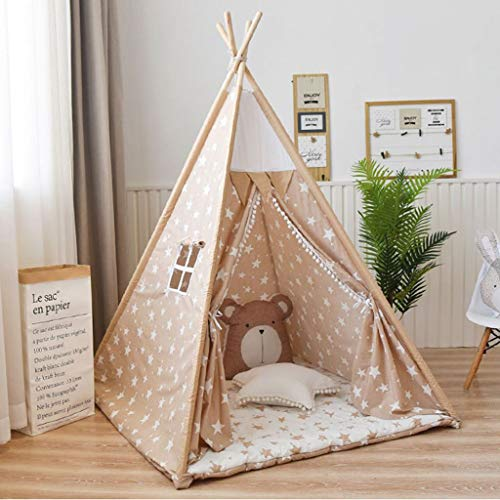LAMPSJN Play house Teepee Tent for Kids Foldable Children Play Tent for Girl and Boy, Indian Wigwam Playhouse for Indoor and Outdoor Games,Birthday 4 Poles Cotton canvas Playhouse Toy for Indo