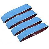 Alu-Schleifbänder 4 Stück – Goodchanceuk Blau Schleifband 100 x 915 mm Aluminiumoxid Schleifpapierbänder für Metall Rost Polieren Schleifen Blau